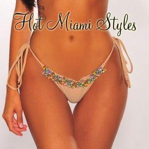 Nude Iridescent Rhinestone Tie Up Bikini BOTTOMS